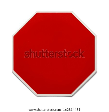 Red Traffic Sign with Copy Space Isolated on White Background. - stock photo