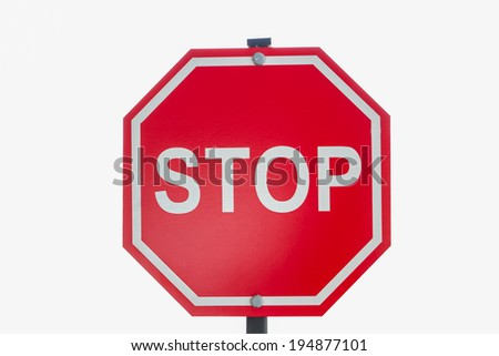 Red Traffic Stop Sign Isolated on White Background. - stock photo