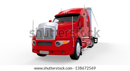 Red Trailer Truck Isolated on White Background - stock photo