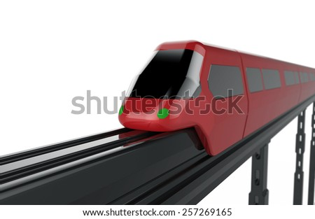 Red Train monorail - stock photo