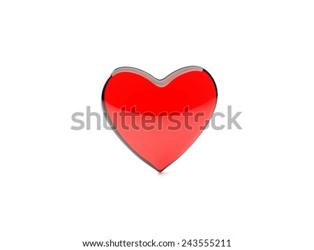 red, translucent glass heart isolated on white background - stock photo