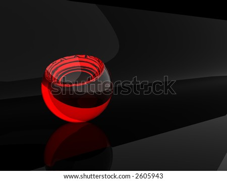 Red transparent sphere isolated on black background - stock photo