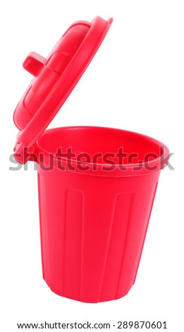 Red trash can open plastic red - stock photo