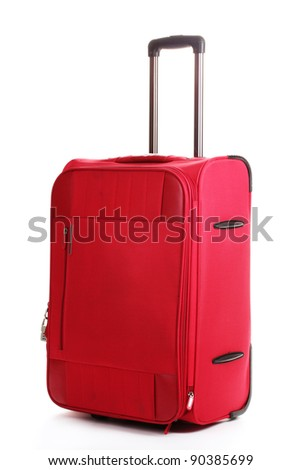 red travel bag isolated on white - stock photo