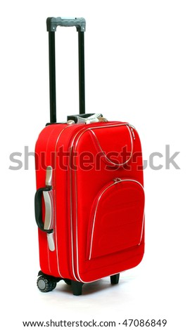 Red travel bag - isolated on white background. - stock photo
