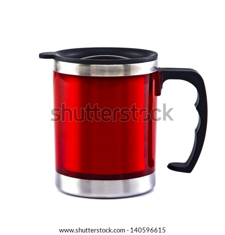 Red travel mug isolated on white background - stock photo