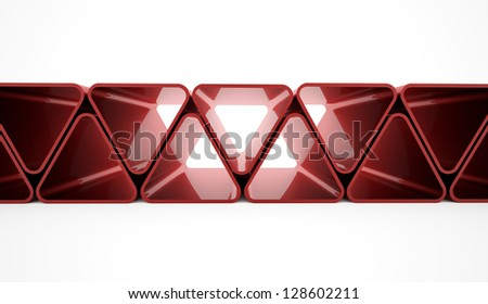 Red triangle concept on white background - stock photo