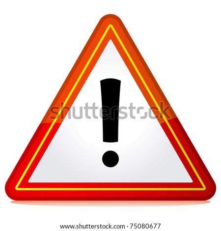 Red triangle warning sign on white background. - stock photo