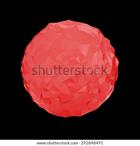 Red triangular 3D sphere on black  isolated with clipping path - stock photo
