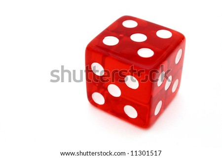 red tricky die with all sides giving five over a white surface - stock photo