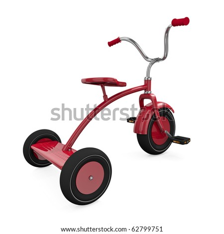Red tricycle against a white background. High quality 3D rendered illustration.