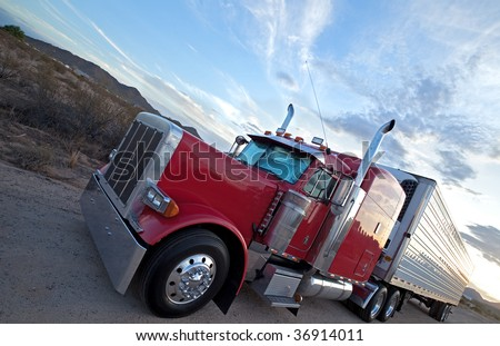 Red truck. - stock photo