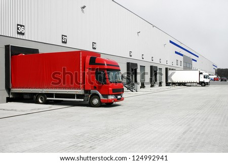 red truck in the warehouse