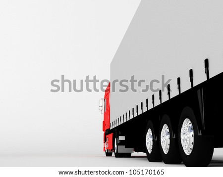 red truck isolated on white - stock photo