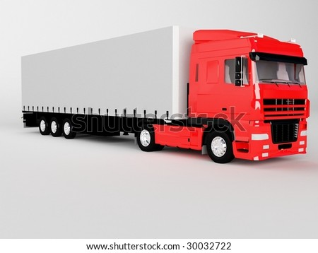 red truck isolated on white