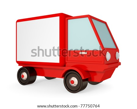 Red truck isolated on white background. 3d rendered. - stock photo
