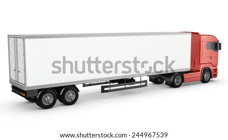 Red truck with white blank semi-trailer isolated on white background