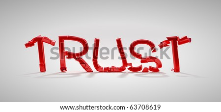 Red Trust word destruction over grey background - stock photo