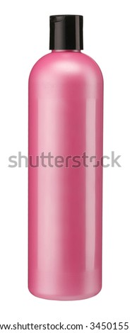 Red tube bottle of shampoo, conditioner, hair rinse, gel, mouthwash / studio photography of plastic bottle for shampoo - isolated on white background - stock photo