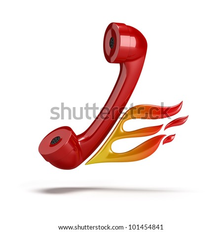 Red tube coming out of the phone with her ??flames. 3d image. Isolated white background. - stock photo