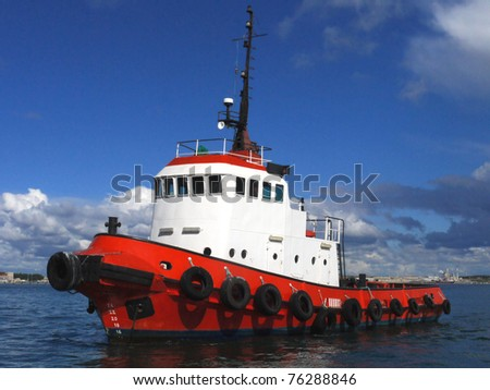 Red Tug Seascape - stock photo