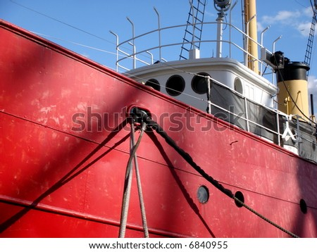 red tugboat - stock photo
