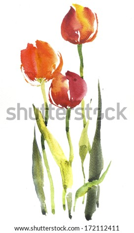 Red tulips background - stock photo