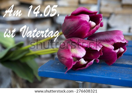 red tulips in front of a stack of wood with the german text: Am 14.05. ist Vatertag (fathers day is on 14.05.) - stock photo