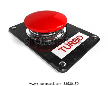 red turbo button - stock photo