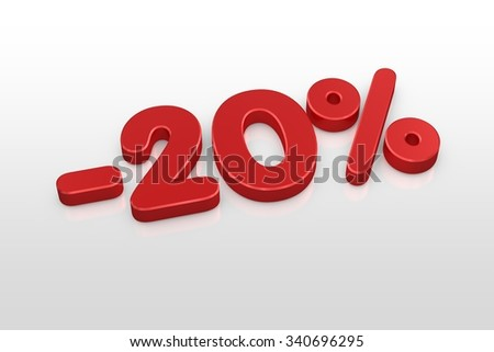 Red twenty percent discount symbol on a white background