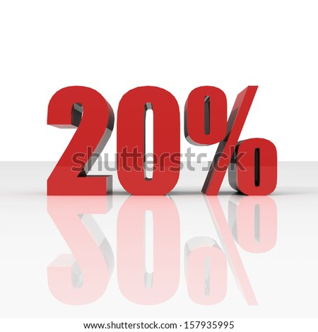 Red twenty percent off. Discount 20 percent. - stock photo