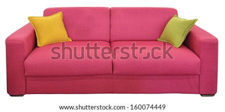 Red two-seat sofa with pillows, isolated on white background - stock photo
