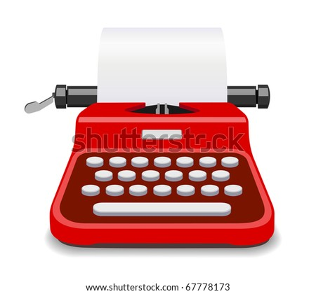 Red typewriter illustration - stock photo