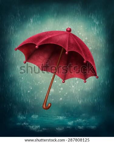 Red umbrella and rain drops - stock photo