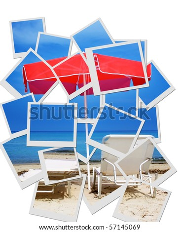Red umbrella and sandy beach-photo collage - stock photo