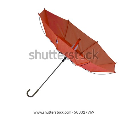 Red umbrella inside out, isolated on white background. Windy day.