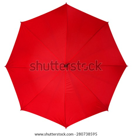 Red umbrella isolated on white background. Clipping path included. - stock photo