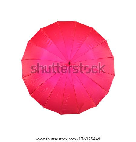 red umbrella on a white background - stock photo