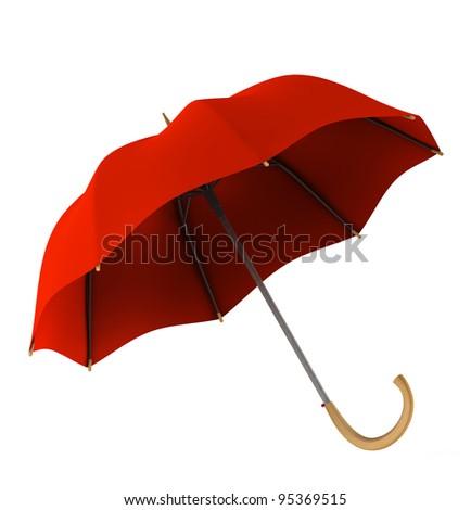 Red umbrella on white background - stock photo