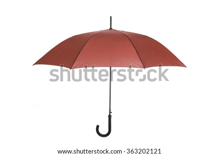 Red umbrella with black handle on white