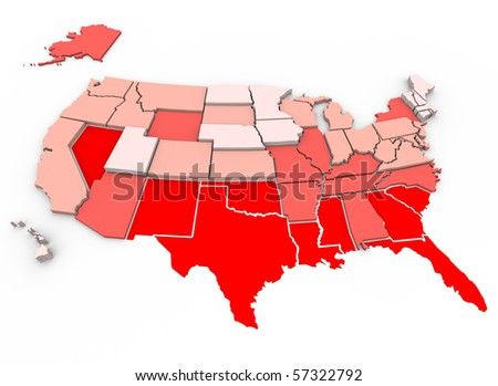 Red = unhealthiest states, White = healthiest states, based on 21 health factors measured in 2005. Health Care State Rankings, Morgan Quinto Press