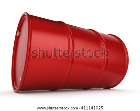 Red Untitled barrel  on a white background - stock photo