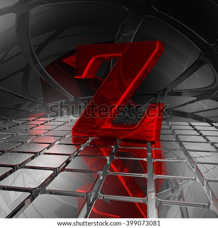 red uppercase letter z in futuristic space - 3d illustration - stock photo