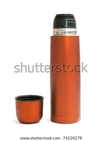 red used thermos on white background - stock photo