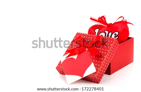 Red valentine gift box and tag - stock photo