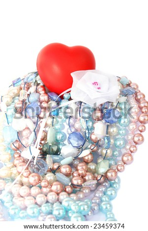 Red valentine heart,colorful pearls,beads,white ribbon.