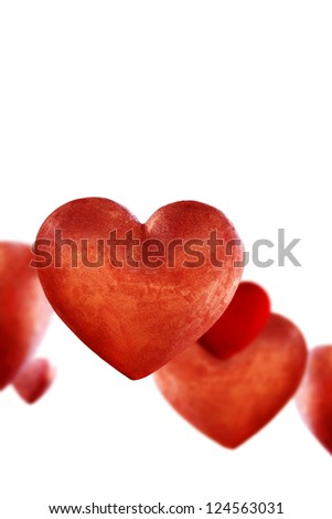 Red valentine hearts isolated against white. - stock photo