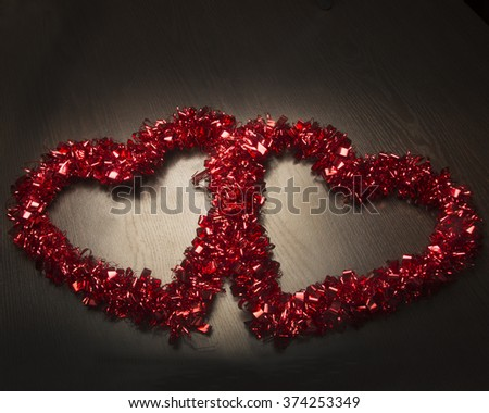 Red Valentine hearts/Two Red Valentine Hearts/Valentine hearts on black background - stock photo