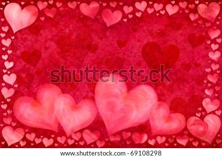 Red Valentine's Day card with hearts - stock photo