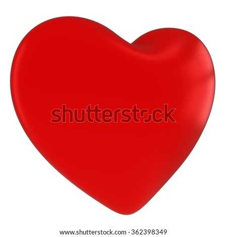 Red Valentines's Day Heart Symbol Isolated on White Background